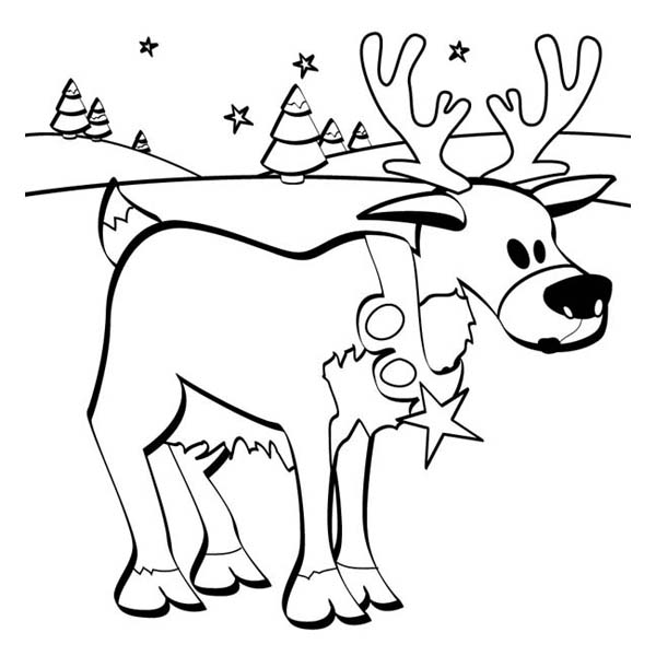 Christmas, : Santa Clauss Reindeer on the Snow Field on Christmas Coloring Page