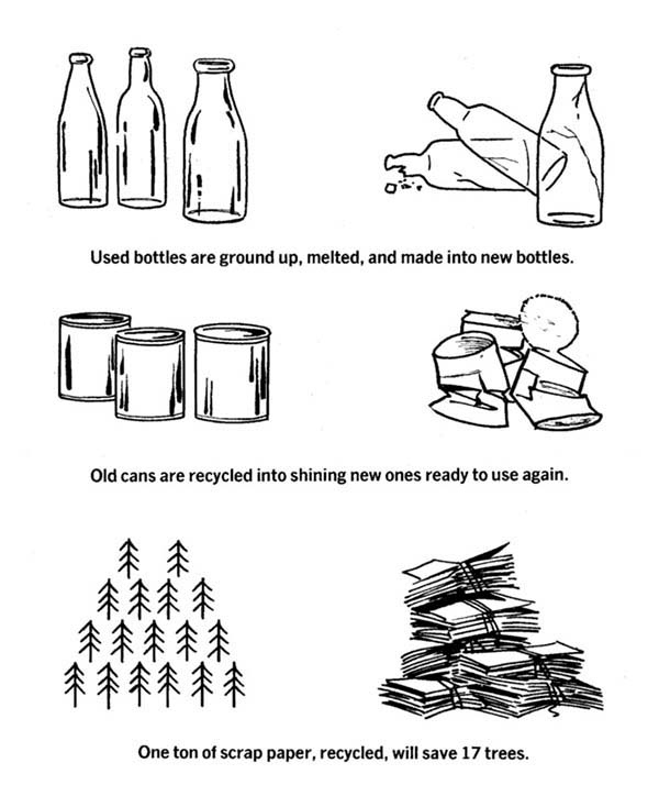 Recycling, : Save Earth Recycling Your Waste Coloring Page