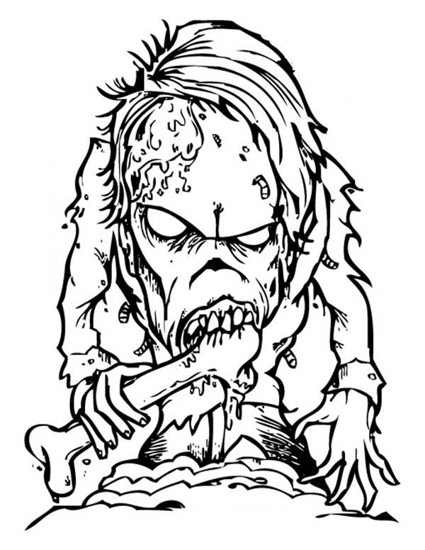 Scary, : Scary Bone Eater Monster Coloring Page