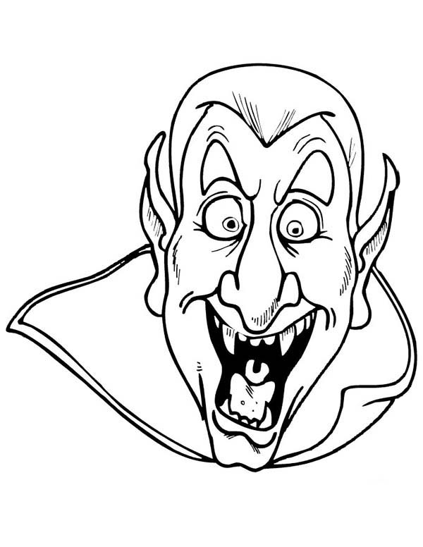 Scary, : Scary Dracula Coloring Page