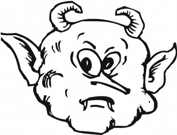 Scary, : Scary Face of a Demon Coloring Page