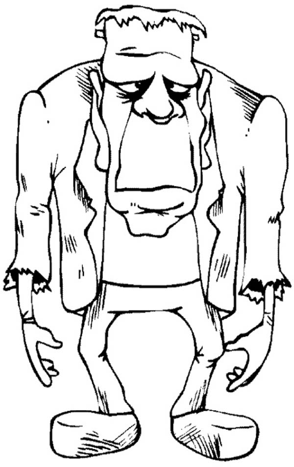 Scary, : Scary Frankenstein Coloring Page