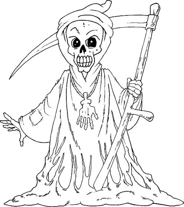 Scary, : Scary Grim Reaper Coloring Page