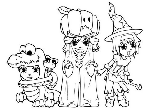 Scary, : Scary Halloween  Costume Coloring Page