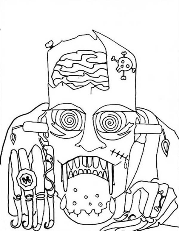 Scary, : Scary Halloween Mask Coloring Page
