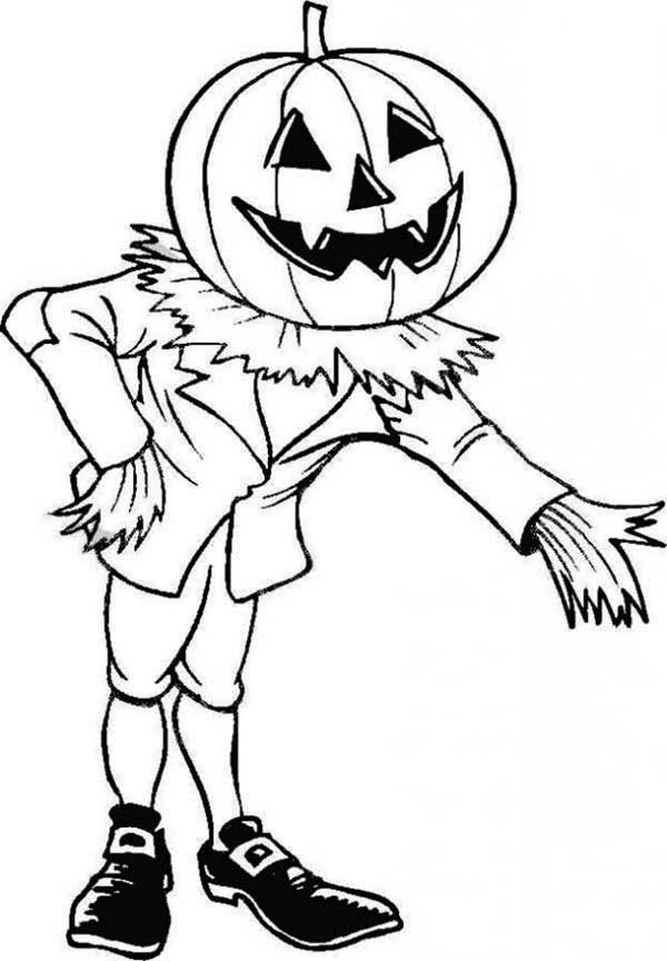 Scary, : Scary Halloween Pumpkin Invite Us to Enter His House Coloring Page