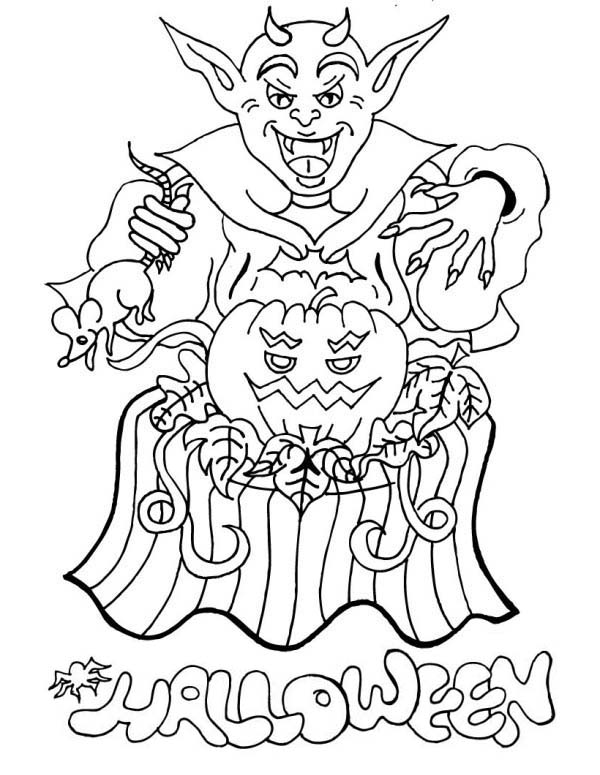 Scary, : Scary Halloween Satan Coloring Page