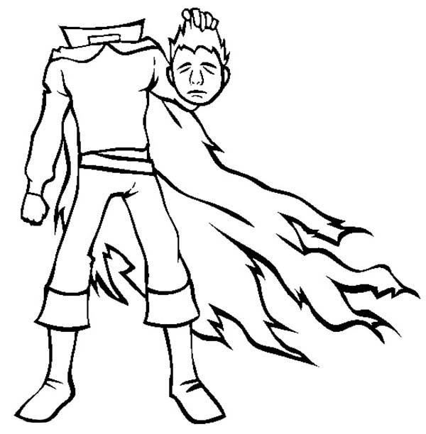 Scary, : Scary Headless Man Coloring Page