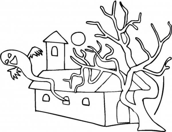 Scary, : Scary House with Dead Tree Coloring Page