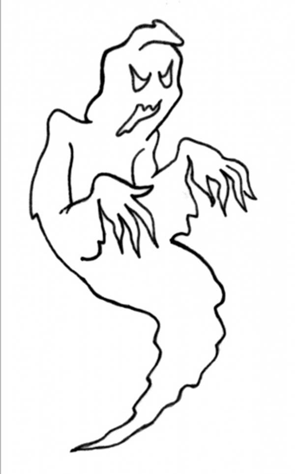 Scary, : Scary Man Eater Ghost Coloring Page