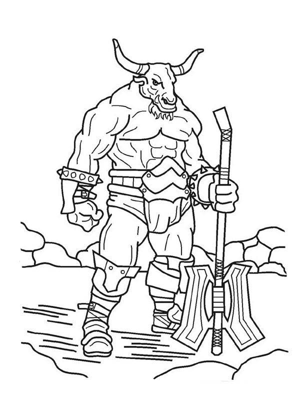 Scary, : Scary Minotaur Holding an Axe Coloring Page