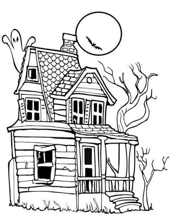 Scary, : Scary Old House Coloring Page