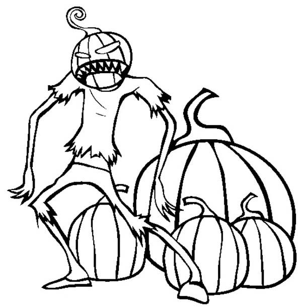 Scary, : Scary Pumpkin Creature Coloring Page