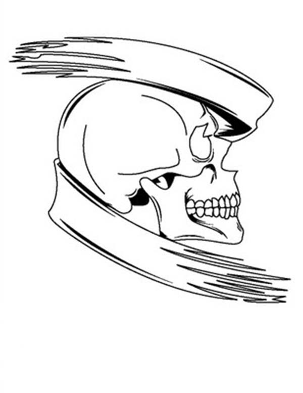 Scary, : Scary Skull Coloring Page