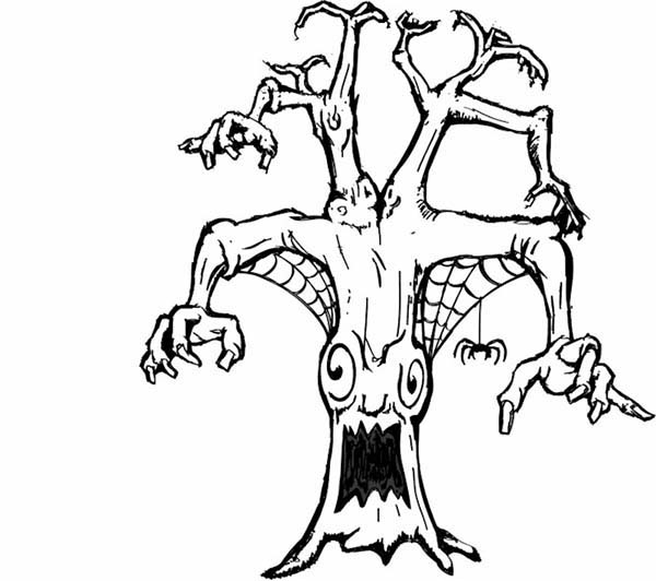 Scary, : Scary Tree Monster Coloring Page