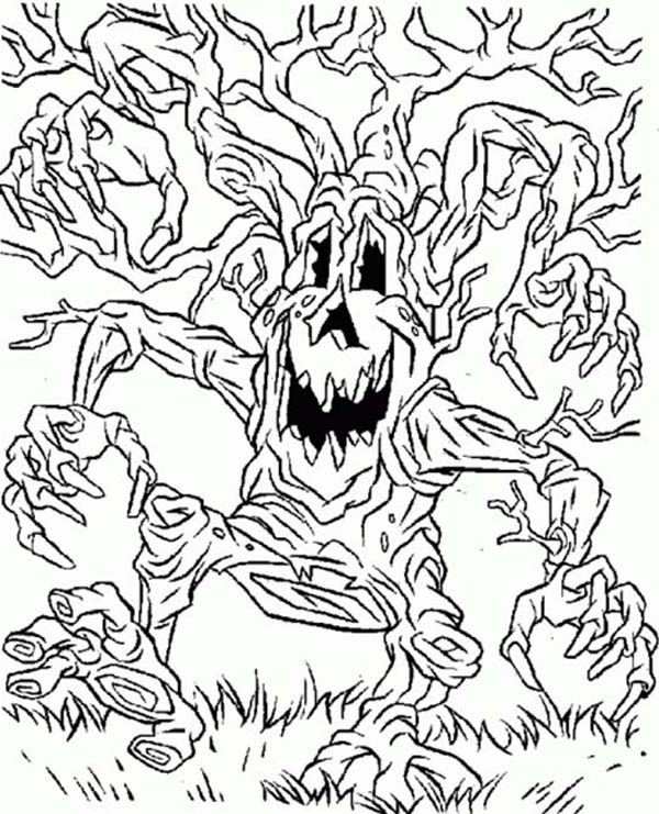Scary, : Scary Tree Monster Walking Around Coloring Page