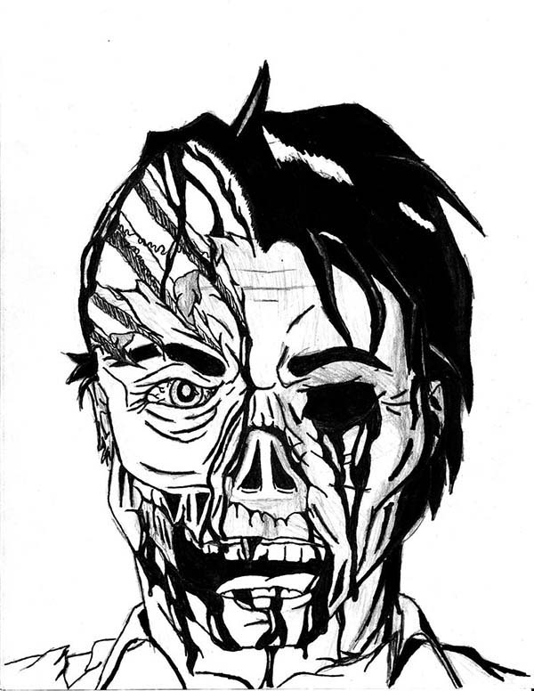 Scary, : Scary Two Faces Coloring Page