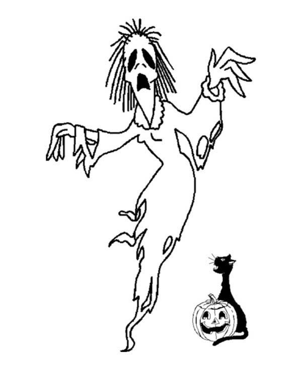 Scary, : Scary Witch Came Out from Halloween Pumpkin Coloring Page