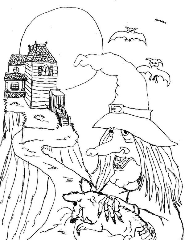 Scary, : Scary Witch House Up on Hill Coloring Page