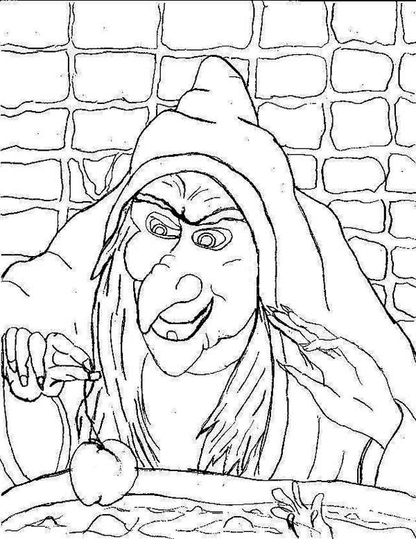 Scary, : Scary Witch Making Poison Coloring Page