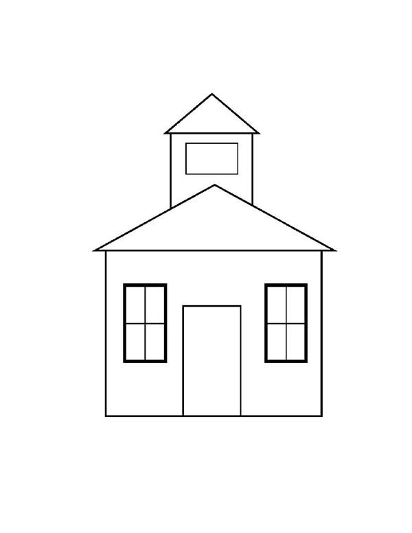 School House, : School House Outline Coloring Page