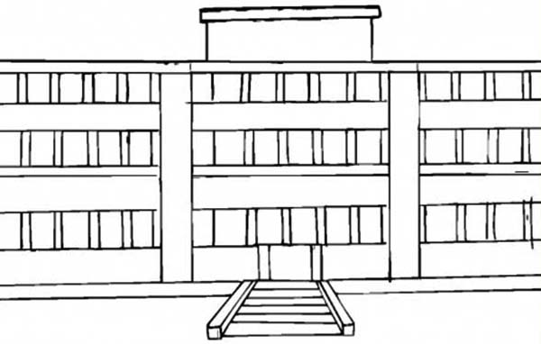 School House, : School House for College Student Coloring Page