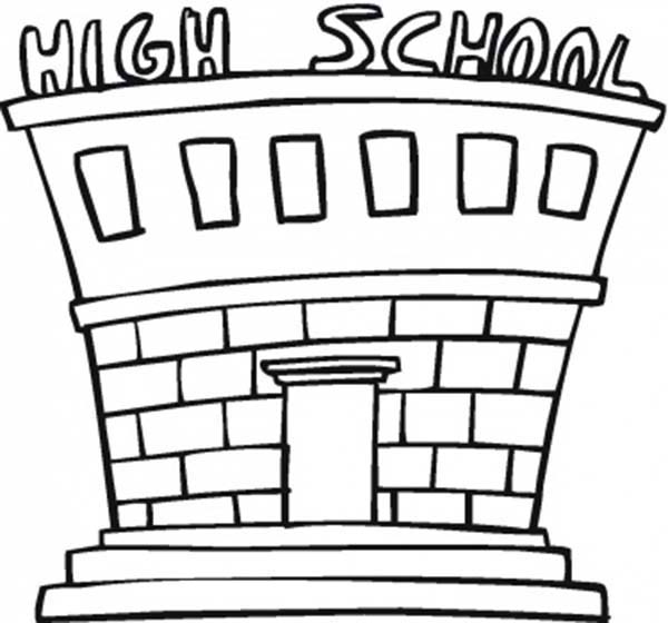 School House, : School House for High School Coloring Page