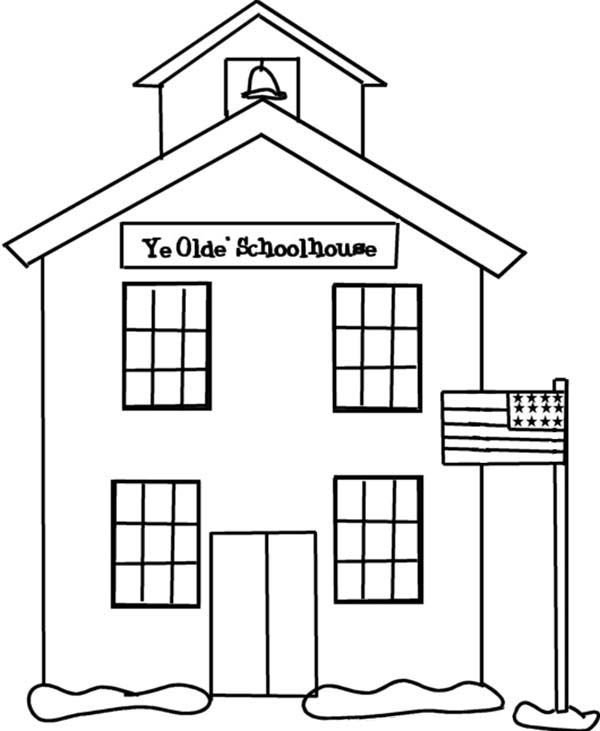 School House, : School House on Spring Coloring Page