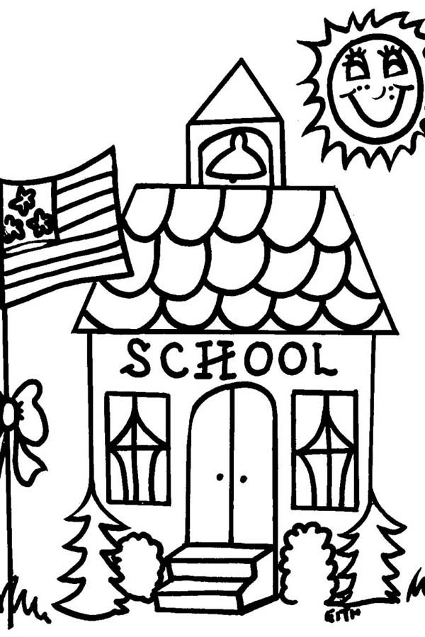 School House, : School House on Sunny Day Coloring Page