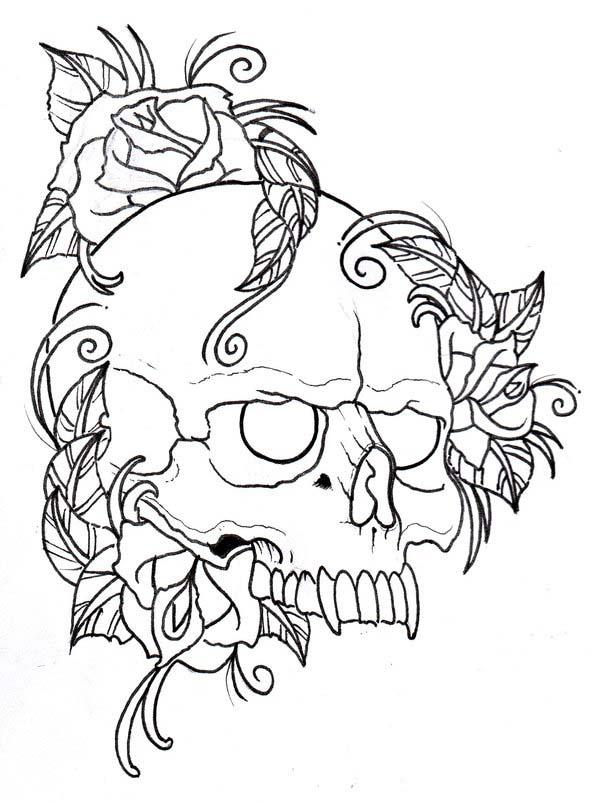 Sharp Fang Skull Coloring Page Coloring Sky
