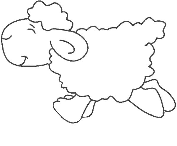 Sheep, : Sheep Running While Closing His Eyes Coloring Page
