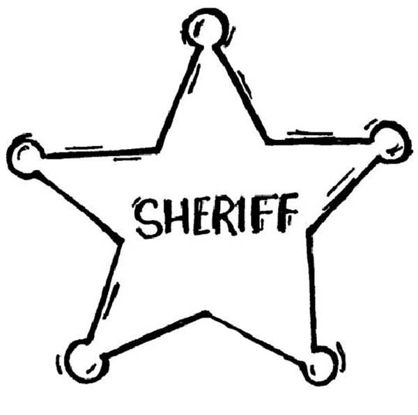 Police Badge, : Sheriff Badge Coloring Page