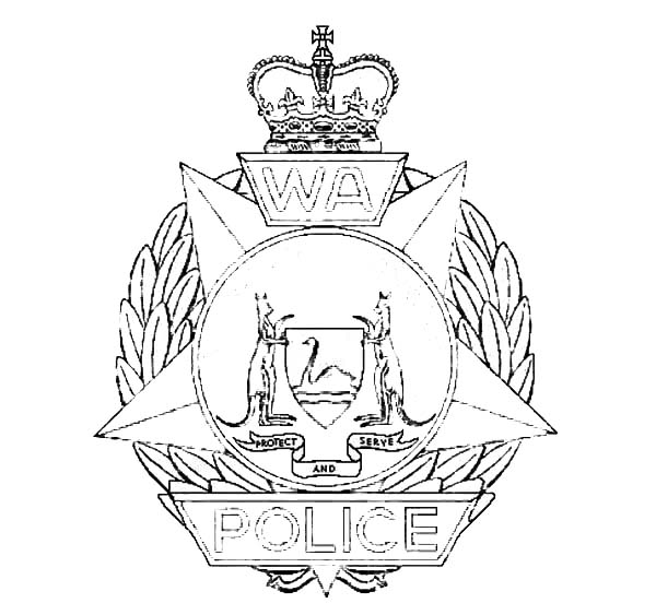 Police Badge, : Shining Police Badge Coloring Page