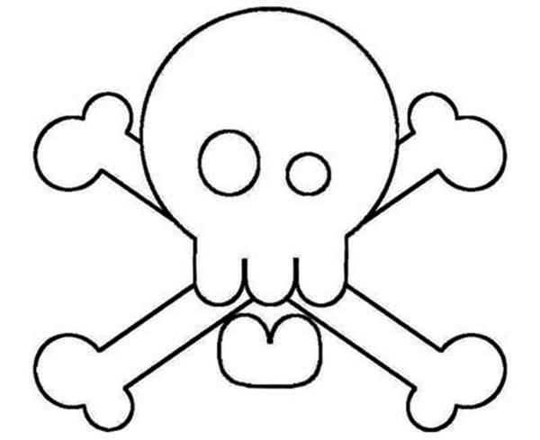 Skull, : Silly Skull Cross Bones Coloring Page