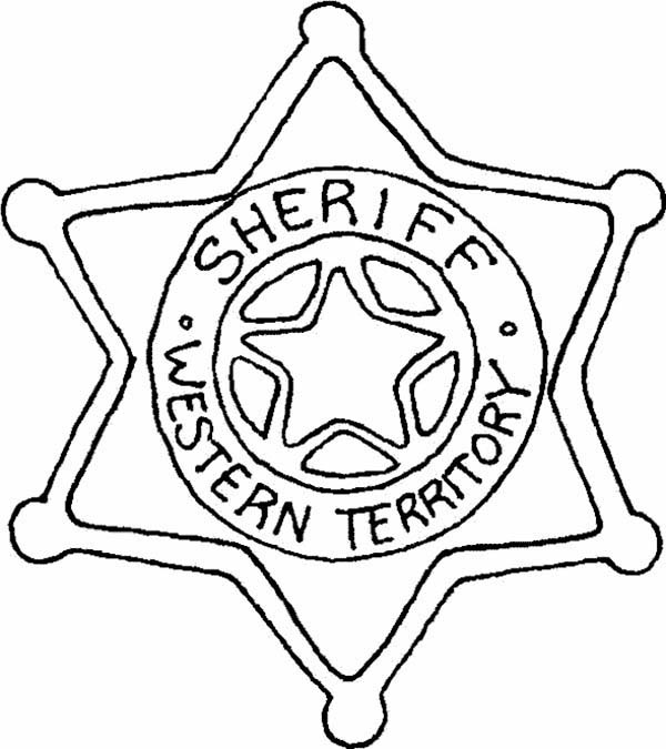 Police Badge, : Six Point Star Sheriff Badge Coloring Page