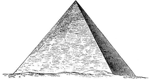 Pyramid, : Sketch of Pyramid of Giza Coloring Page