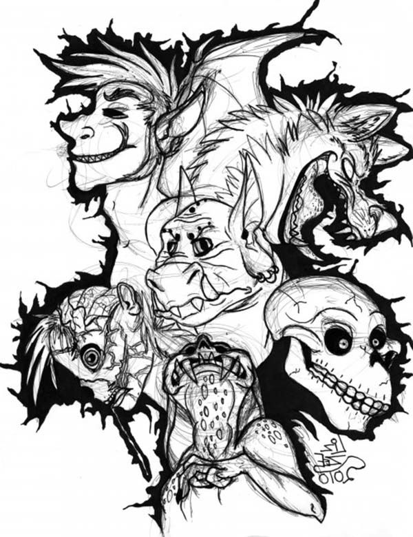 Scary, : Sketch of Scary Monsters Coloring Page