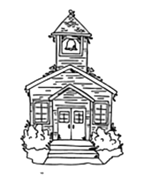 School House, : Sketch of School House Coloring Page