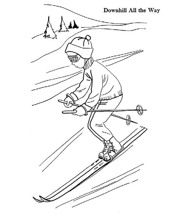 Skiing, : Skiing Downhill All the Way Coloring Page