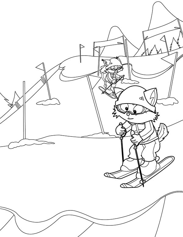 Skiing, : Skiing Line Coloring Page