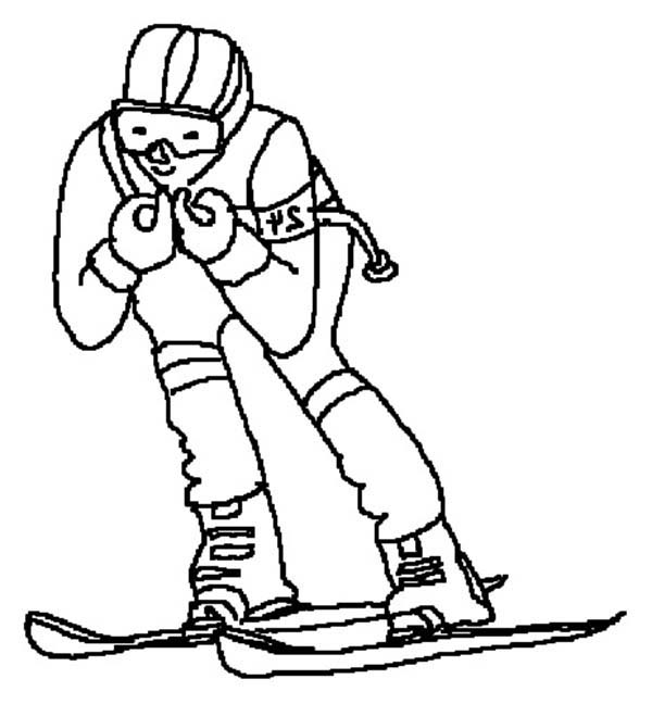 Skiing, : Skiing Race Coloring Page