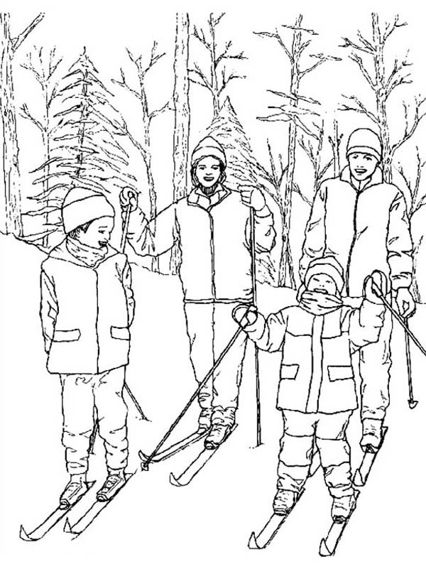 Skiing, : Skiing Start Point Coloring Page