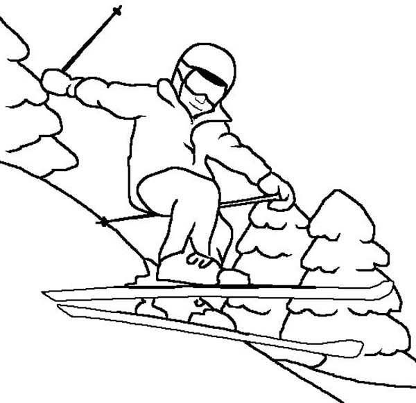 Skiing, : Skiing on Winter Coloring Page