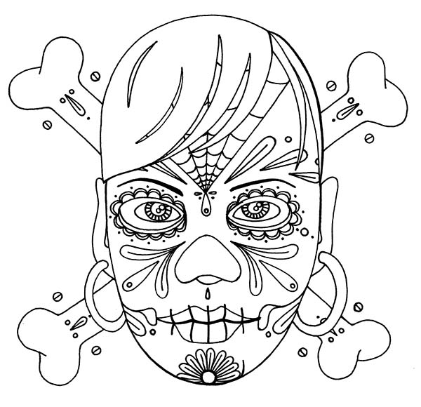 Skull, : Skull Cross Bones Background Coloring Page