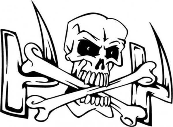 Skull, : Skull and Cross Bones Coloring Page