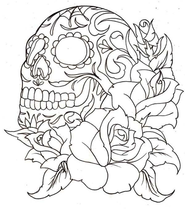 Skull, : Skull and Roses Coloring Page