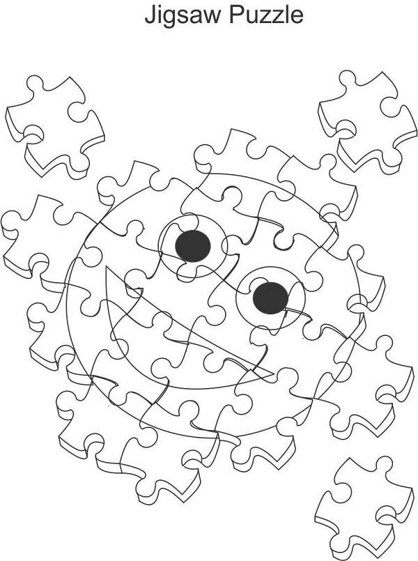 Puzzles, : Smiley Face Jigsaw Puzzles Coloring Page