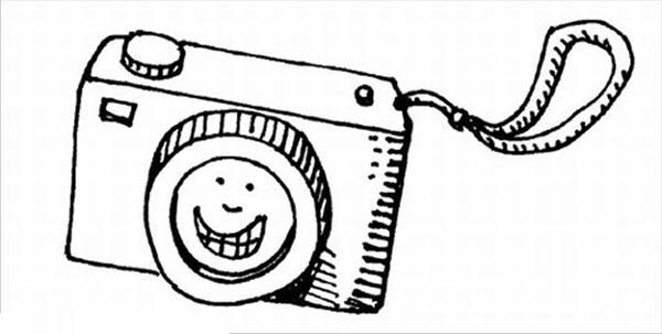Photography, : Smiling Camera in Photography Coloring Page