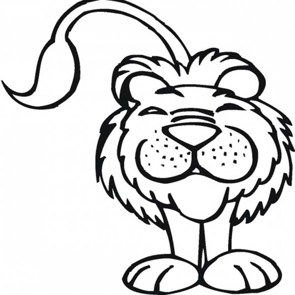 Safari, : Smiling Lion at Safari Coloring Page
