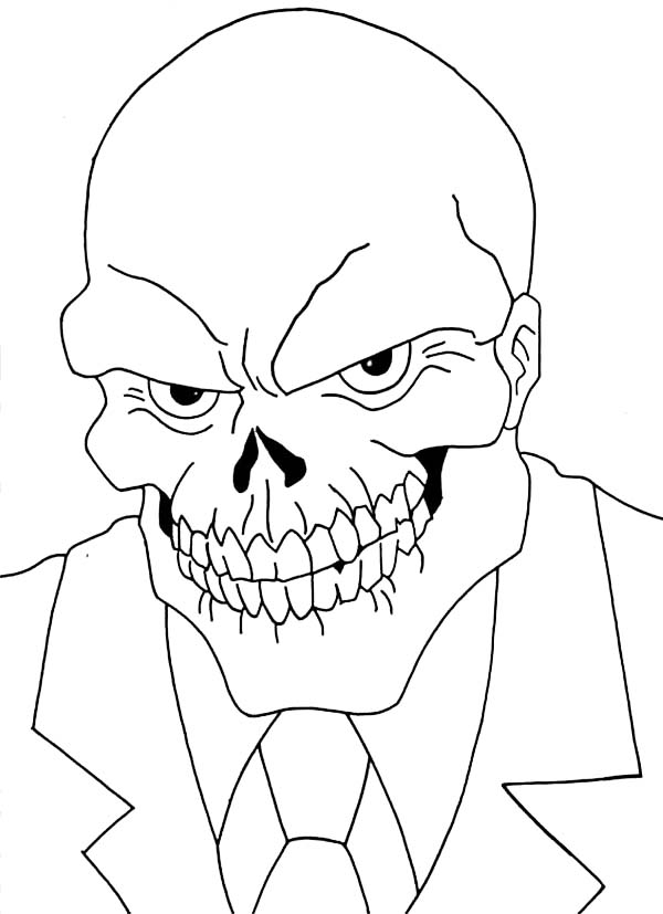 Skull, : Smiling Skull in Suit and Tie Coloring Page